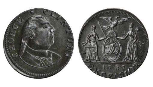1787 George Clinton Copper. Rarity-7-. MS-62 BN (PCGS)