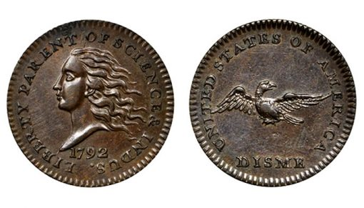 1792 Disme. Judd-10. Rarity-6+. Copper. AU58+ BN (PCGS)