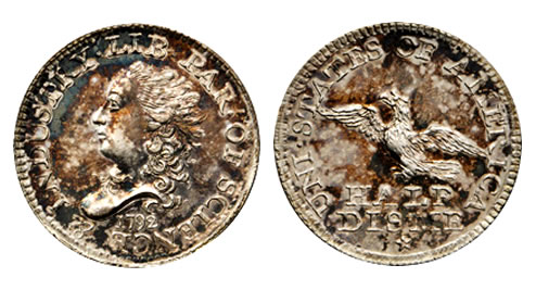 1792 Half Disme. Judd-7. Rarity-4. Silver. MS-63 (PCGS)