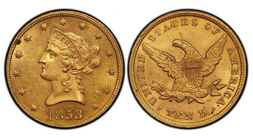1853 Overdate 2 Liberty Head $10 Gold Eagle PCGS MS62