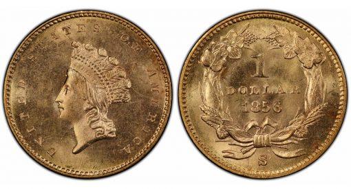 1856-S $1 PCGS MS65+