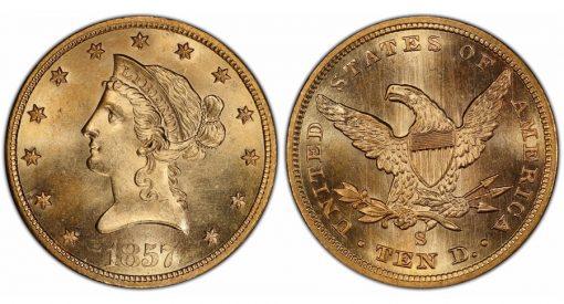 1857-S $10 PCGS MS64+