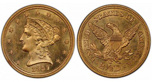 1857-S $2.50 PCGS MS64+