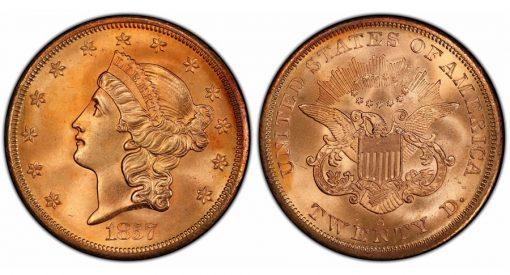 1857-S $20 PCGS MS67+