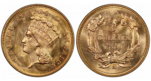 1857-S $3 PCGS MS67