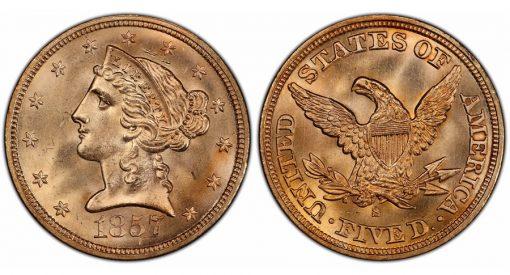 1857-S $5 PCGS MS66