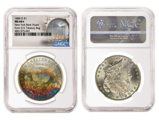 1884 O $1 New York Bank Hoard From U.S. Treasury Bag MS64