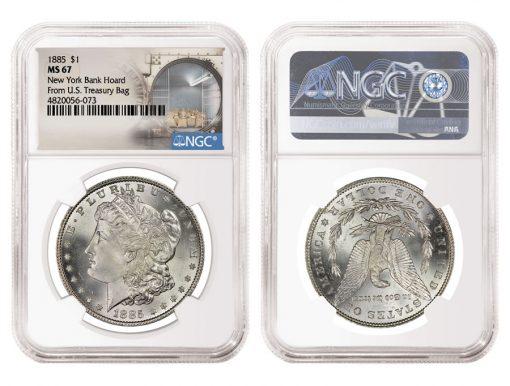 1885 $1 New York Bank Hoard From U.S. Treasury Bag MS 67