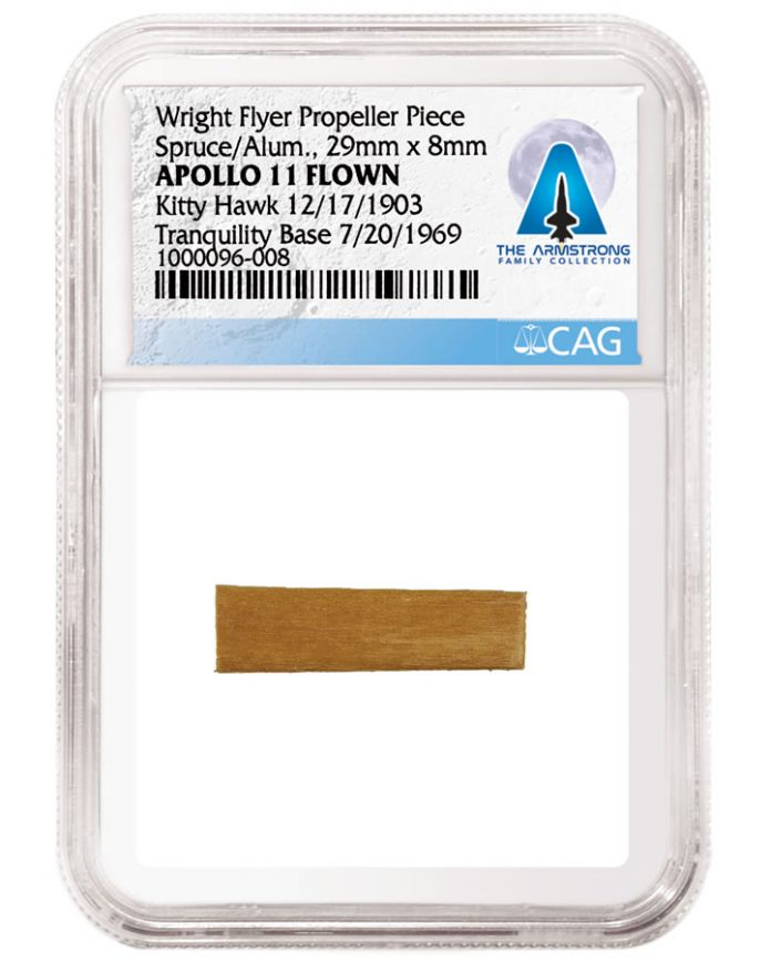 1903 Wright Flyer Propeller Piece Apollo11 Flown Kitty Hawk 12-17-1903 and Tranquility Base 7-20-1969