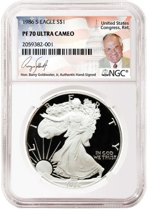 1986 American Silver Eagle PF70 UltraCameo Goldwater Label