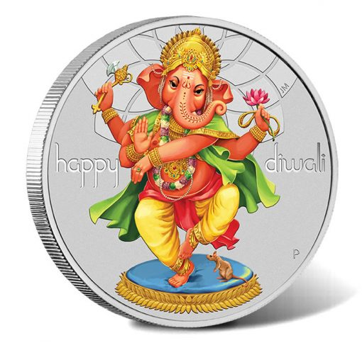 2018 $1 Diwali 1oz Silver Coloured Coin - Reverse