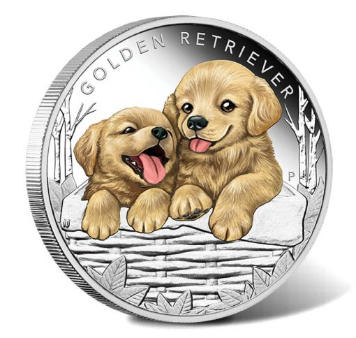 2018 50C Puppies - Golden Retriever 1-2oz Silver Proof Coin - Reverse