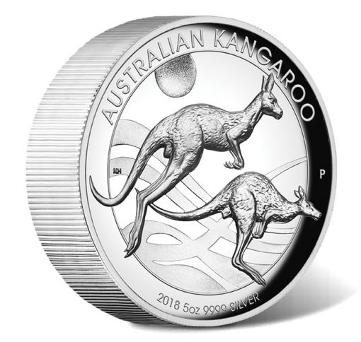 2018 $8 Australian Kangaroo 5oz Silver Proof High Relief Coin - Reverse