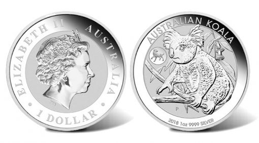 2018 Australian Koala with Dog Privy 1oz Silver Bullion Coin (obverse and reverse)