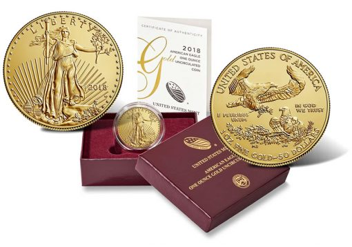 2018-W $50 Uncirculated American Gold Eagles and Presentation Case
