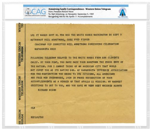 Armstrong Family Correspondence Western Union Telegram - President Nixon to Neil Armstrong