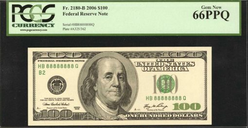 Fr. 2180-B 2006 $100 Note - Serial Number - 88888888 Q