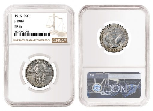 Rare Pattern 1916 Standing Liberty Quarter, Graded NGC PF 61
