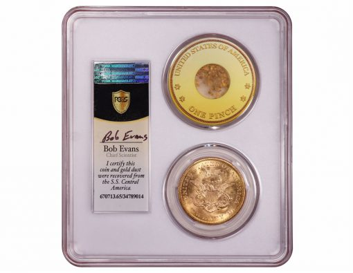 SS Central America coin with gold dust - reverse