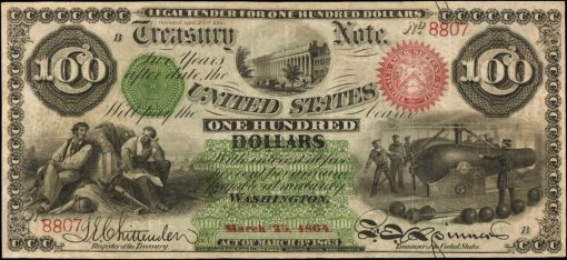 Friedberg 204 (W-3260). 1863 $100 Interest Bearing Note. PCGS Currency Very Fine 30.