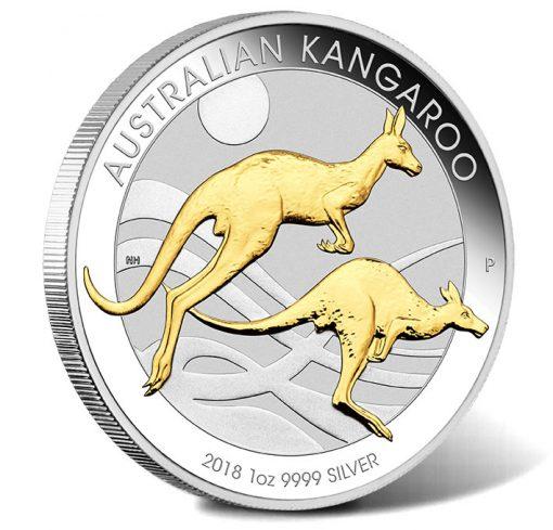 2018 Australian Kangaroo 1oz Silver Gilded Edition