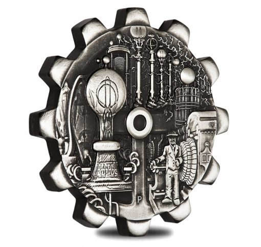 2018 Evolution of Industry Gear-Shaped Electricity 1oz Silver Silver Coin