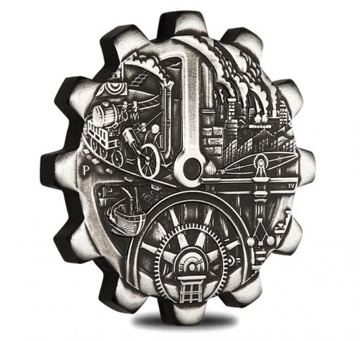 2018 Evolution of Industry Gear-Shaped Steam 1oz Silver Silver Coin