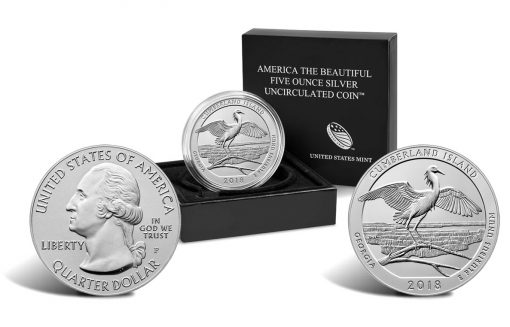 2018-P Cumberland Island National Seashore Five Ounce Silver Uncirculated Coin and Packaging