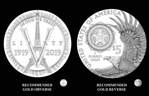 2019 $5 American Legion 100th Anniversary Gold Coin Designs - Obverse and Reverse