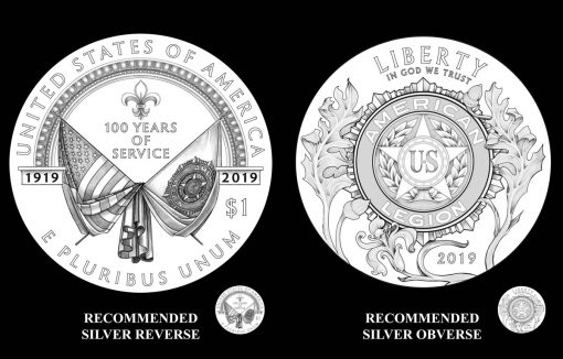2019 American Legion 100th Anniversary Silver Dollar Designs - Obverse and Reverse