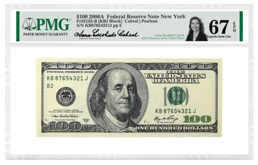 Anna Escobedo Cabral Signed PMG Label on $100 2006A Note