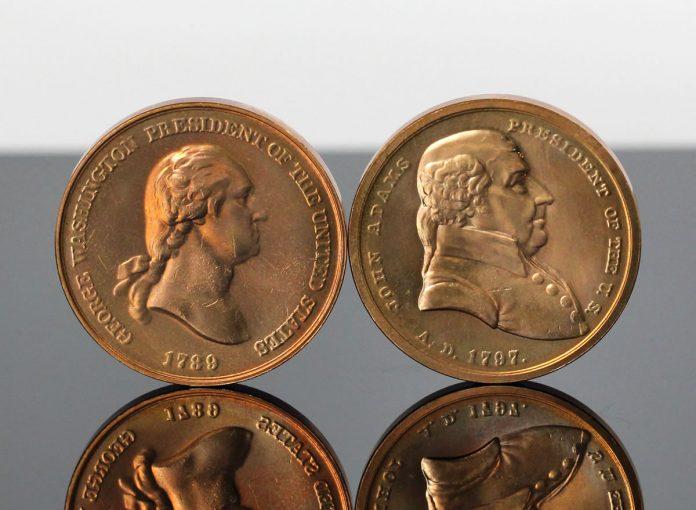 George Washington and John Adams Presidential Bronze Medals - Obverses