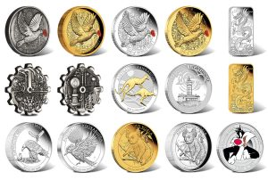 Perth Mint of Releases WWI, Gilded and Gear-Shaped Coins