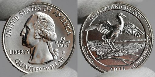 Photo of Clad 2018-D Uncirculated Cumberland Island National Seashore Quarter - Obverse and Reverse