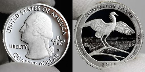 Photo of Silver 2018-S Proof Cumberland Island National Seashore Quarter - Obverse and Reverse