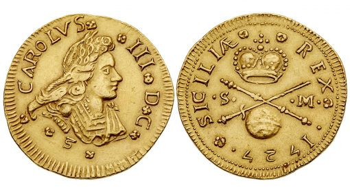 Spanish King Carlos (Charles) III on 4 Ducati struck in 1727 in Palermo