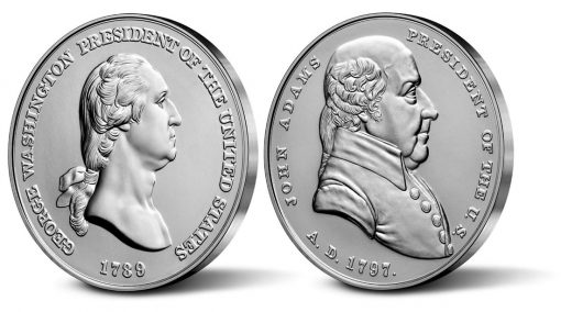 US Mint Images Showing Edges of the George Washington and John Adams Presidential Silver Medals