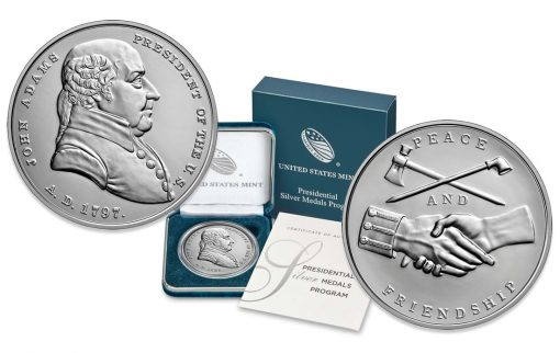 US Mint Product Images for John Adams Presidential Silver Medal