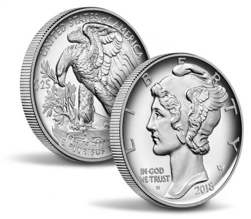 US Mint image of 2018 Proof American Palladium Eagle - sides and edges