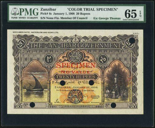 Zanzibar Zanzibar Government 20 Rupees 1.1.1908 Pick 4cts Color Trial Specimen