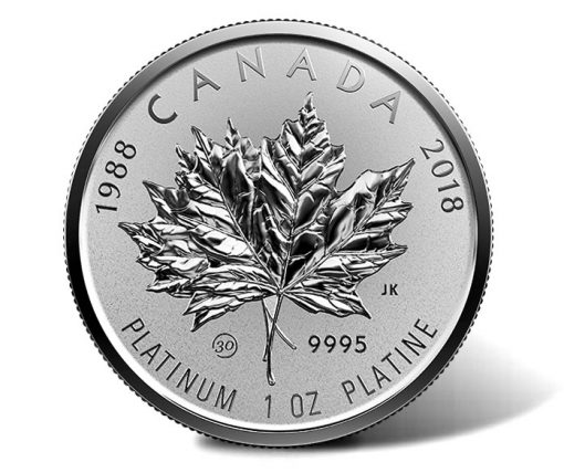 2018 $300 30th Anniversary Platinum Maple Leaf - Reverse