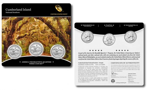 2018 Cumberland Island National Seashore Quarter Three-Coin Set (front and back)