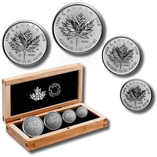 30th Anniversary Platinum Maple Leaf Fractional Set and Packaging