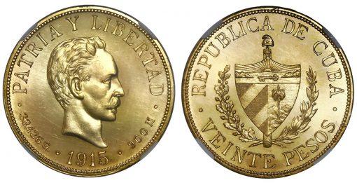 Cuban 1915 gold 20 pesos