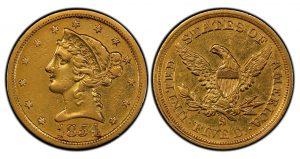 PCGS Grades Rare 1854-S $5 Gold Coin