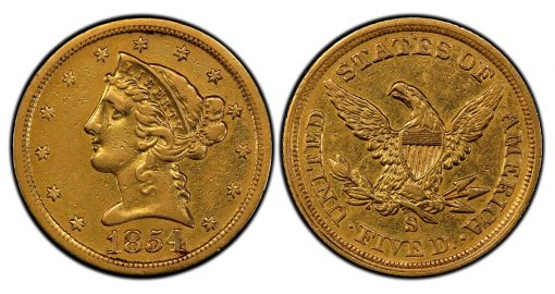 1854-S Quarter Eagle PCGS XF45