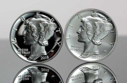 2018 Proof American Palladium Eagle and 2017 Bullion American Palladium Eagle - Obverses