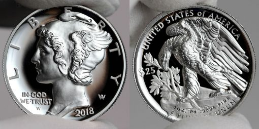 2018-W $25 Proof American Palladium Eagle - Obverse and Reverse