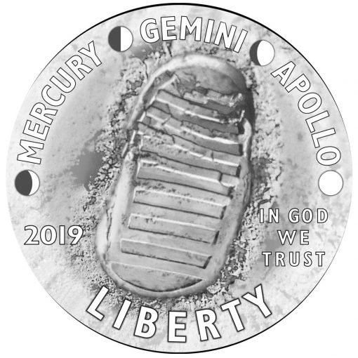 2019 Apollo 11 50th Anniversary Commemorative Coin Design - Obverse