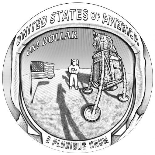 2019 Apollo 11 50th Anniversary Commemorative Coin Design - Reverse